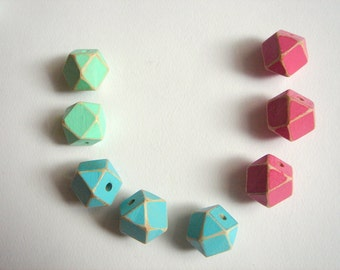 Shabby Hand painted  Geometric Mix Wood Beads,Do it Yourself Geometric necklace