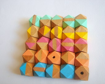 Hand painted Neon Geometric Mix Wood Beads,Do it Yourself Geometric necklace
