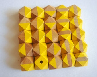 Yellow Geometric Mix Wood Beads,Do it Yourself Geometric necklace