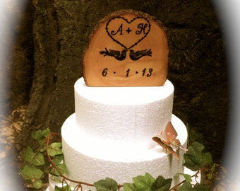 Customized Wedding Cake Topper - Rustic Wedding Cake Topper - Wedding Cake Topper