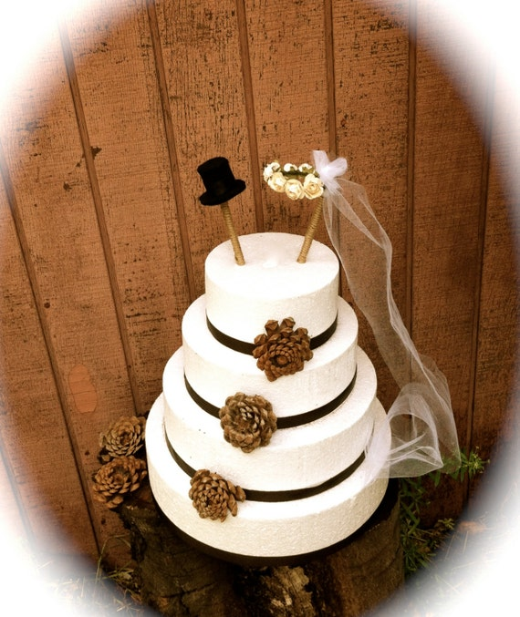 Fall Vintage Wedding Ideas: Rustic Wedding Cake Topper Vintage Cylinder By MomoRadRose