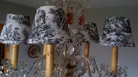 toile chandelier lampshades Black and White toile – Toile Chandelier Shades