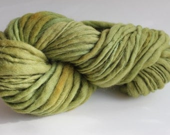 Lime  Green Color Hand Spun Hand Dyed Thick and Thin Chunky Wool Yarn