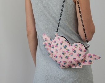 Chain Heart Purse Pastel Pink Floral Winged Heart Flying Heart Boho Chic Romantic Bag Shabby Chic Gift For Girl Floral Heart Gift For Her