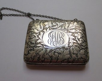 Antique Sterling Silver Dance Purse, J.F. Fradley & Co., With Flourishes and Initials, 117.5 grams