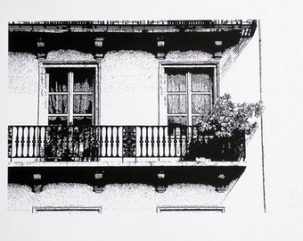Nancy, France : Balcony with Flowers - limited edition screenprint