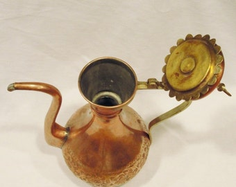 Gorgeous Large Copper Teapot Vessel hand tooled copper