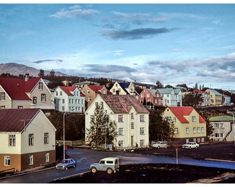 1980s Vintage Photograph of a Colorful Akureyri, a town in Iceland 12x8
