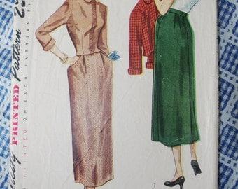 Vintage Pattern: Simplicity Misses Slim Skirt & Jacket Pattern Sz 11 1949