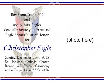 EAGLE SCOUT Court of Honor Invitation- Customizable, photo, printable 4x6 or 5x7