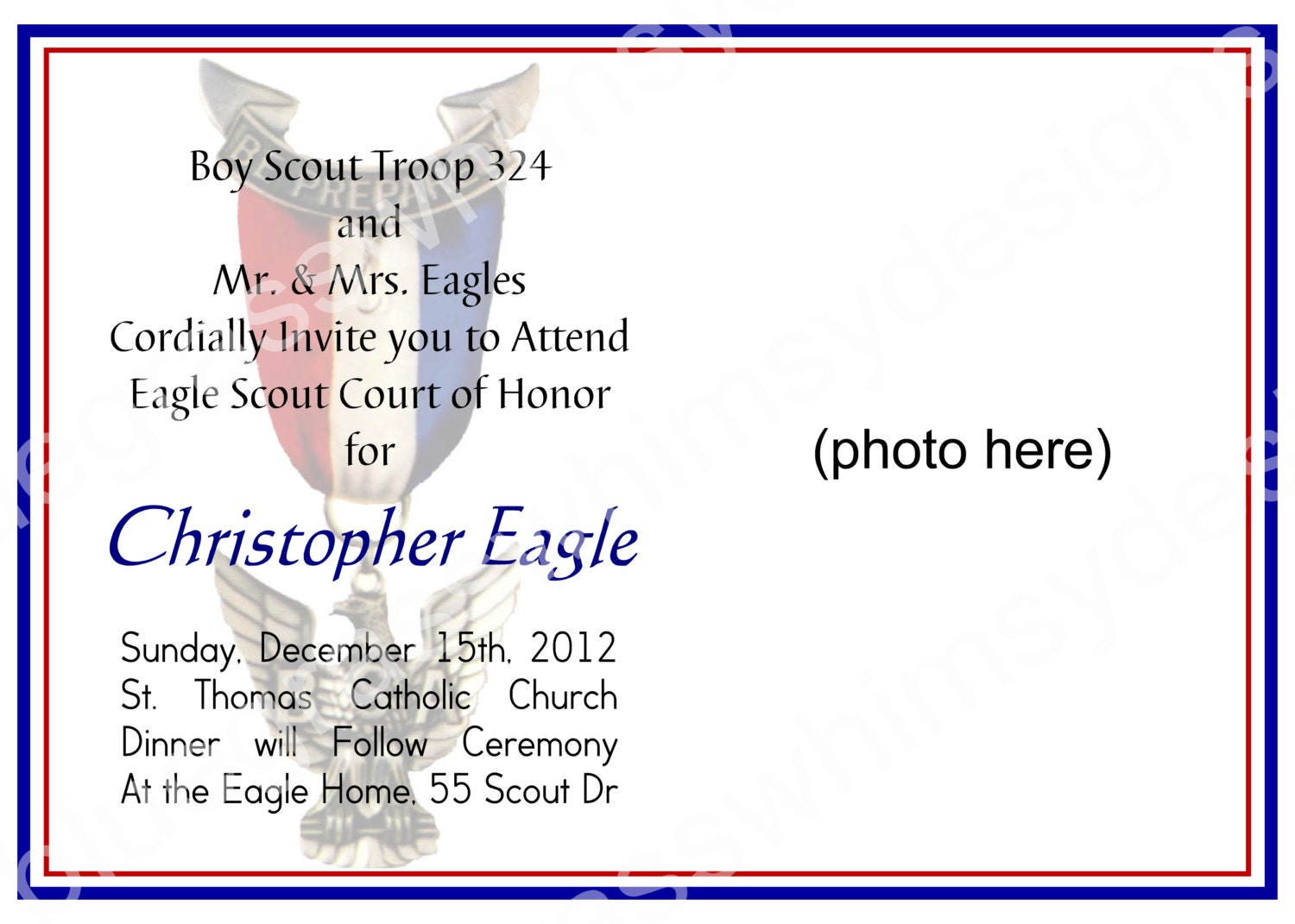 Eagle Scout Court Of Honor Invitation Customizable Photo