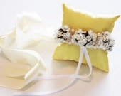 Yellow Pillow Ring for Dogs, Ivory White Flowers on Yellow Pillow, Wedding Dog Accessory, Ring Bearer Pillow