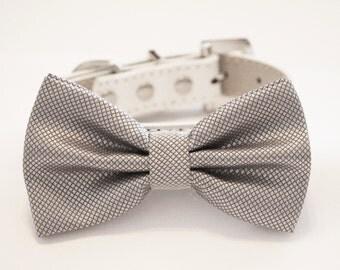 Silver Dog Bow Tie collar, Pet wedding, Handmade gift