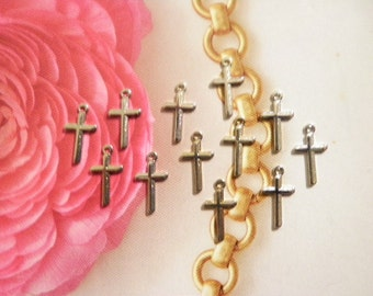 12 Vintage Silverplated 13mm Crosses