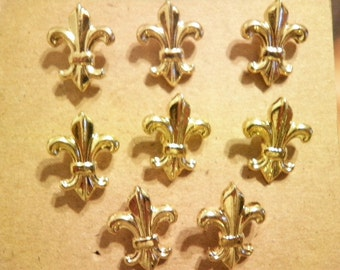8 Vintage Goldplated 13mm Fluer-di-Lis French Cross Pins