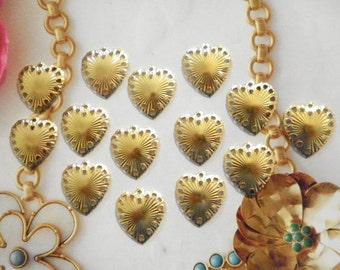 14 Goldplated 20mm Heart Pendants