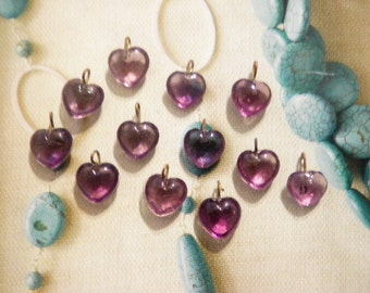 12 Glass 10mm Amethyst Heart Charms