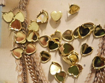 24 Goldplated 10mm Hearts with Prong Backs