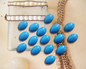 16 Lucite Turquois Blue 16x11mm Cabochons