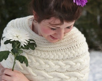 READY TO SHIP, Knit Poncho, Cream Wedding Capelet, Bridal Shrug, Cover up, hand knit in cable pattern