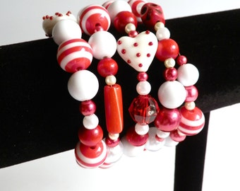 Red And White Valentine Memory Wire Bracelet With Skulls And Hearts