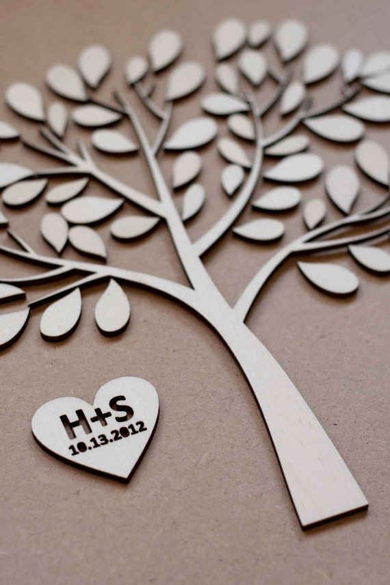 Custom wedding guest book alternative - 3D Wedding Tree guest book - wood rustic wedding guest book - WOODEN TREE of LIFE - 100 leaves