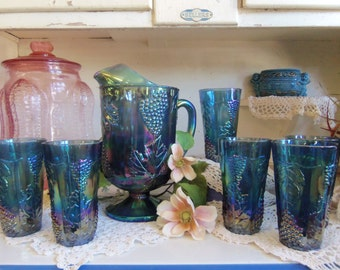 Vintage Colony Harvest Blue Carnival Glass Pitcher and 6 Matching Tumblers Coolers Glass Wedding or Party Set  B912