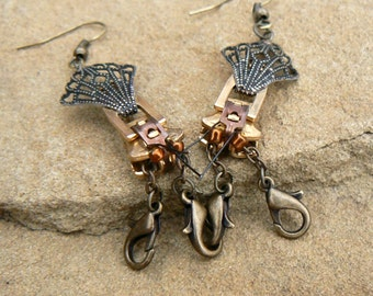 Steampunk Crayfish Earrings - Zipper Earrings - Steampunk Jewelry