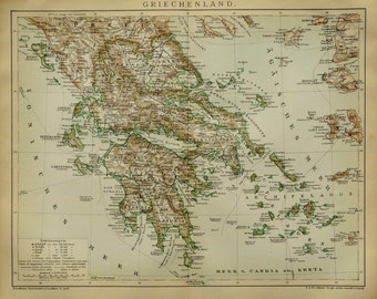 1895 ANTIQUE MAP of GREECE. 121 years old chart