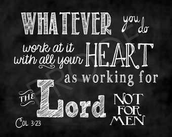 Scripture Art - Colossians 3:23 Chalkboard