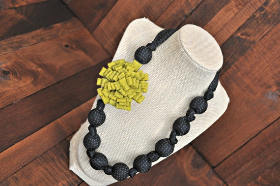 Rayna- Upcycled Black Necktie Necklace with Green Felt Flower
