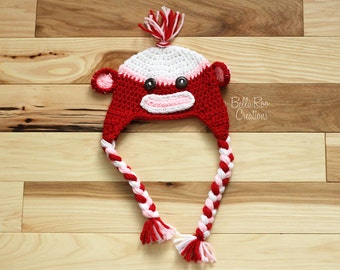 Valentines Sock Monkey Hat     Red,Pink, and White