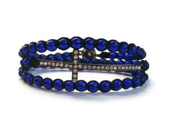 Cobalt Blue Beaded Cross Wrap Bracelet