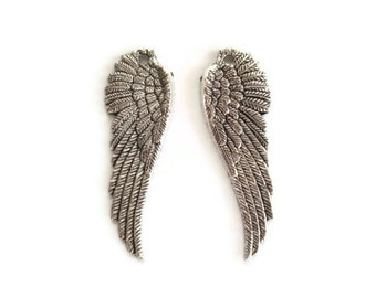 Angel Wing Charms, Antique Silver Angel Wing Pendants
