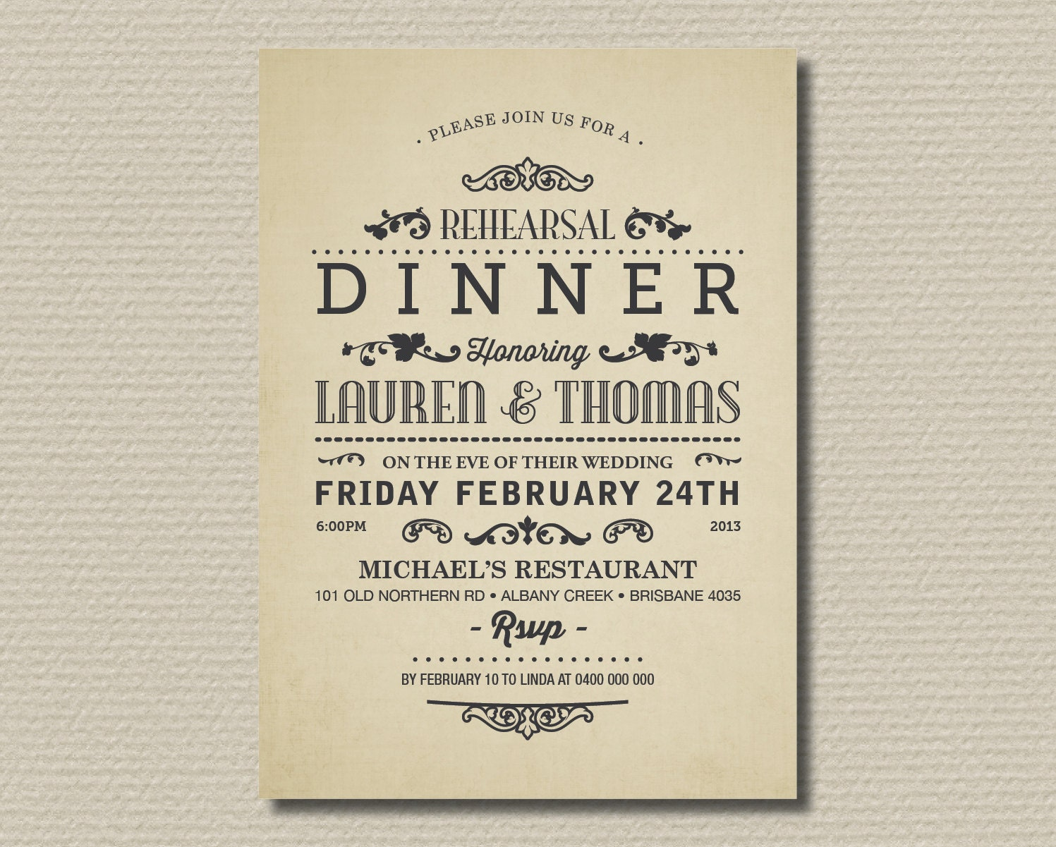 Dinner invite wording free custom invitation template design surprise birthday party invitation wording wordings and messages printable wedding rehearsal and dinner by rosiedaydesign on etsy stopboris Choice Image