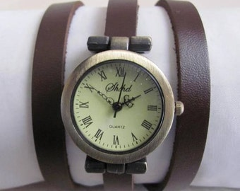 Vintage Style Handmade Bracelet Leather Wrist Watch. FREE SHIPPING