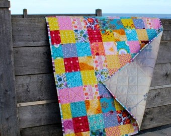 Modern Patchwork Lap Quilt Boho Flannel Quilt, Sofa Throw or Baby Blanket
