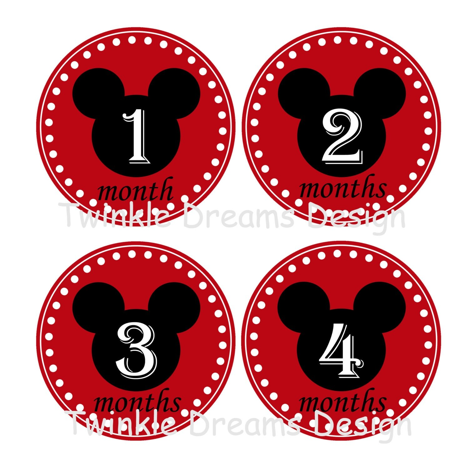 baby monthly onesie stickers mickey mouse by twinkledreamsdesign. Black Bedroom Furniture Sets. Home Design Ideas
