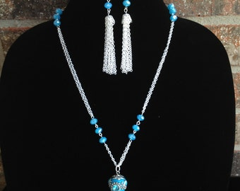 Turquoise Statement Necklace- Rhinestone Ball Necklace- Tassel Necklace- One of a Kind Original- Designs by Stalinda