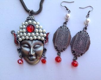 Oriental Statement Necklace-Chinese Buddha Neckalce-Zen Necklace-One of a Kind Original Design-Designs by Stalinda