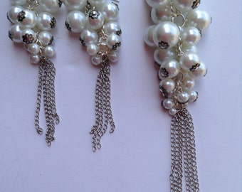 Pearl Cluster Necklace-Long Necklace-Tassel Necklace-Statement Necklace-One of a Kind-Designs by Stalinda