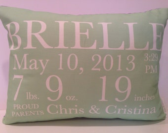 Birth Announcement Pillow baby gift birthday baby shower new baby baby girl baby boy baby chevron pillow custom pillow baby name pillow