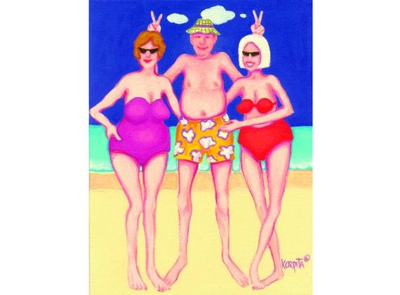 Funny Women Men Beach Seashore Print Colorful 8x10 Glicee from original vacation painting - Harry was a Hoot - Korpita ebsq
