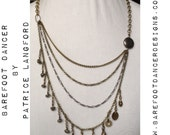 LIMITED EDITION Multi Tier Kuchi Fringe and Natural Pyrite Nugget Necklace  - Belly Dance, Ethnic, Earthy Glamour