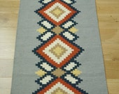 Handmade Natural Romanian Rug carpet kilim tapestry  - hand woven vegetable dyes wool