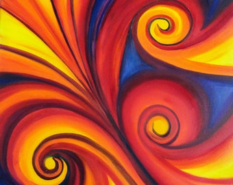 "Original Oil Painting - FREE SHIPPING - Abstract Swirls - 18"" x 24"" Canvas - ""Vibrant"""