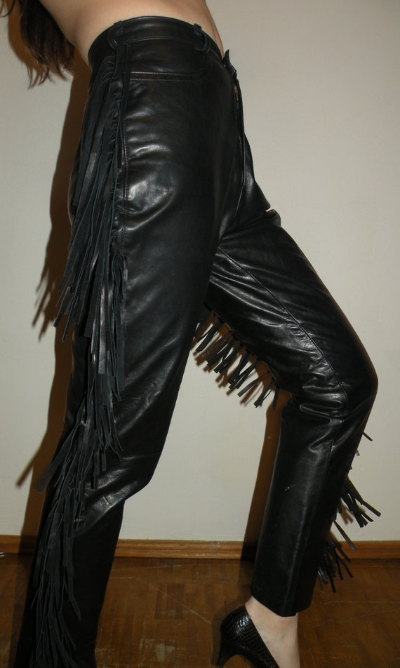 Leather Fringe Pants