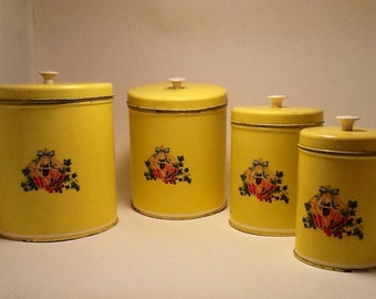 Shabby Chic Sunshine Yellow Metal Canisters 60's Metal Canister Set
