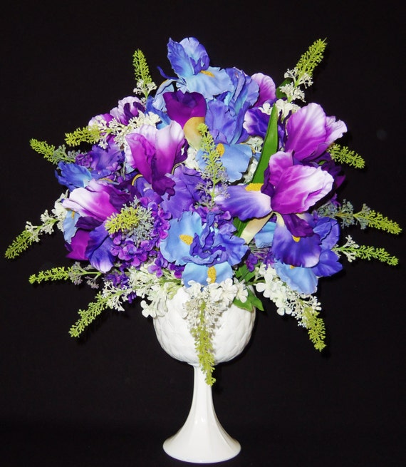 silk flower arrangement purple iris  blue iris white vase, Beautiful flower