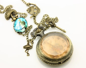 Necklace Pocket watch Alice the time run